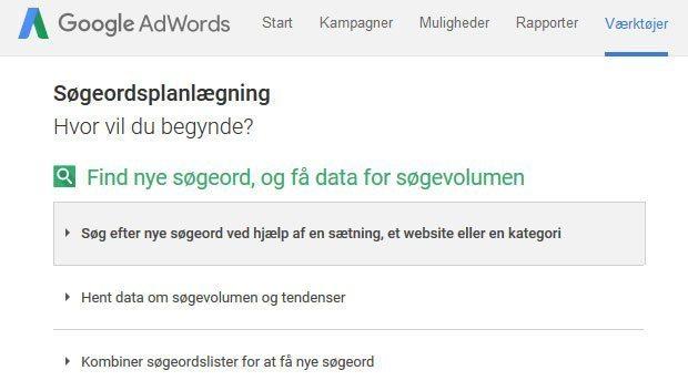 Googles søgeordsplanlægning