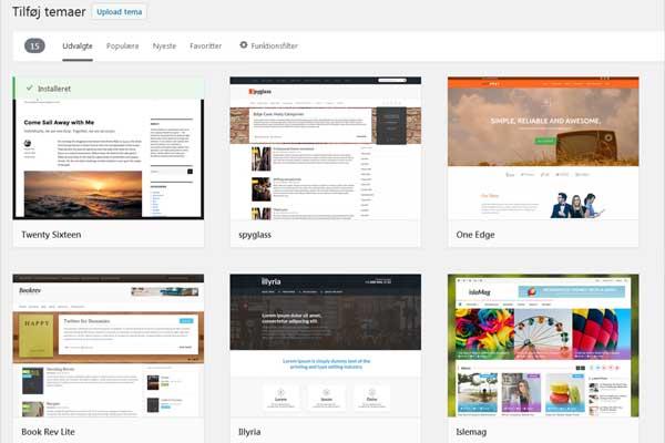 Gratis temaer i WordPress' eget arkiv