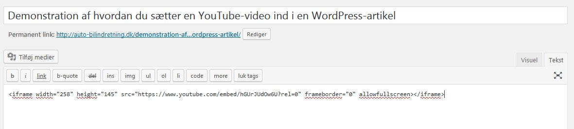 Sæt koden til YouTube-videoen ind