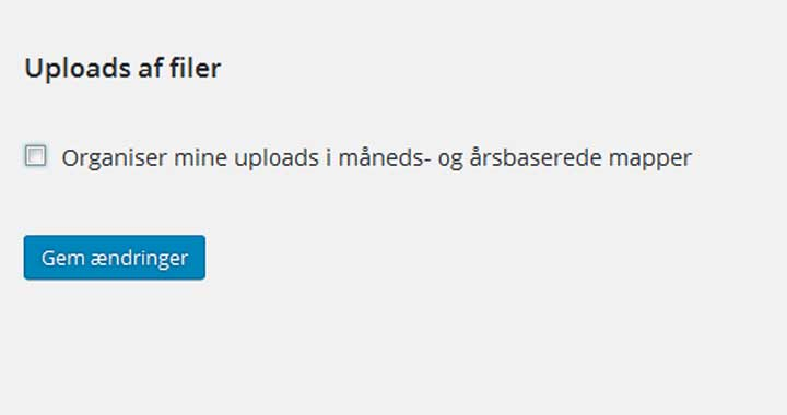 """Fjern hakket ud for """"Organiser mine uploads i måneds- og årsbaserede mapper"""""""