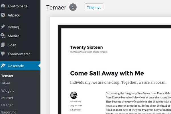 Klik på Tilføj nyt for at installere et WordPress theme
