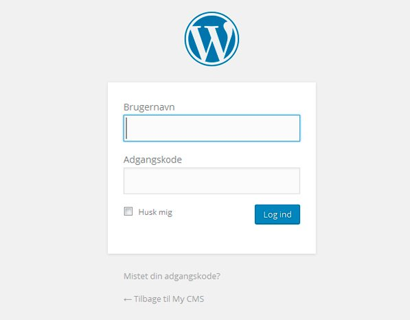 Login-siden hos WordPress