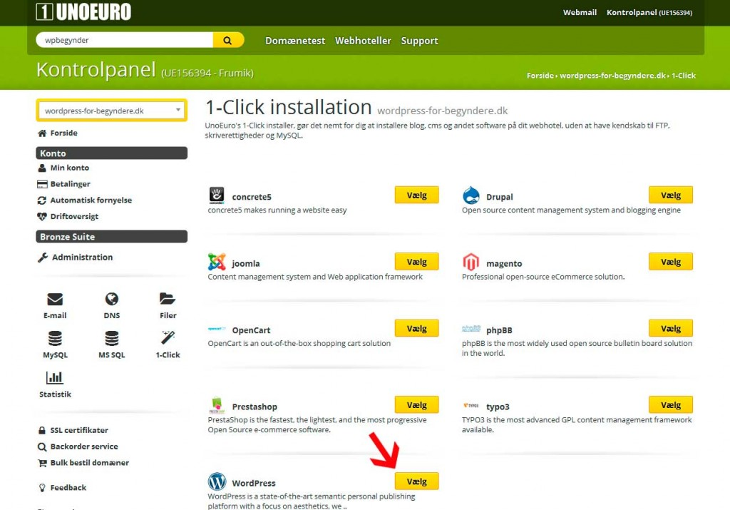 Her installerer du WordPress på et UnoEuro-webhotel
