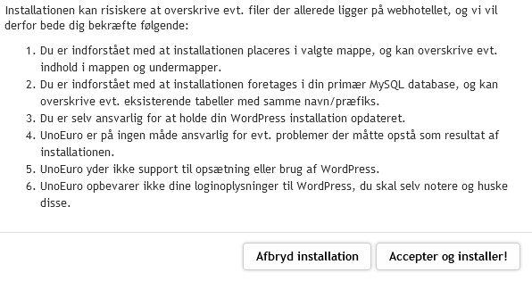 Nu har du næsten installeret WordPress hos UnoEuro