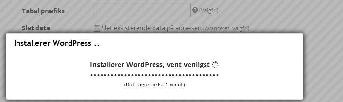 Nu er du i gang med at installere WordPress hos UnoEuro