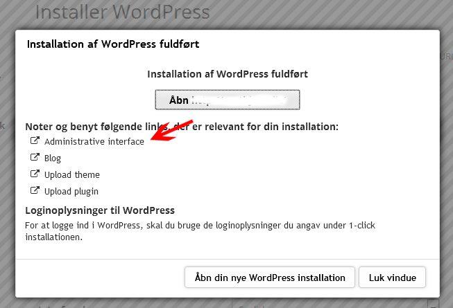 Nu kan du logge dig ind på din nye WordPress-hjemmeside