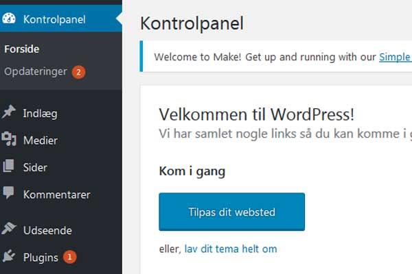 Husk altid at holde WordPress, dit tema og dine plugins opdateret