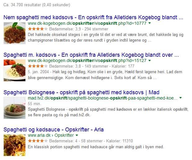 Billeder i Googles søgeresultat