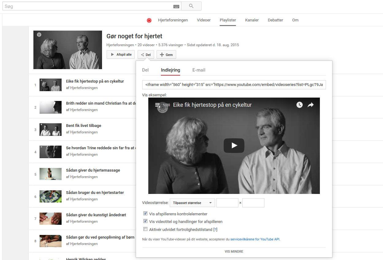 Du kan også sætte en hel playliste fra YouTube ind i din artikel
