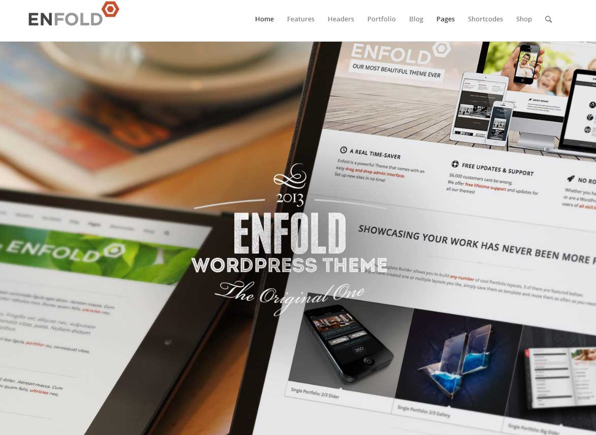 Enfold er endnu et populært premium WordPress tema