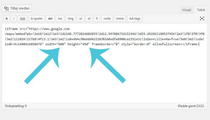 Ret dimensionerne i koden til dit Google-kort