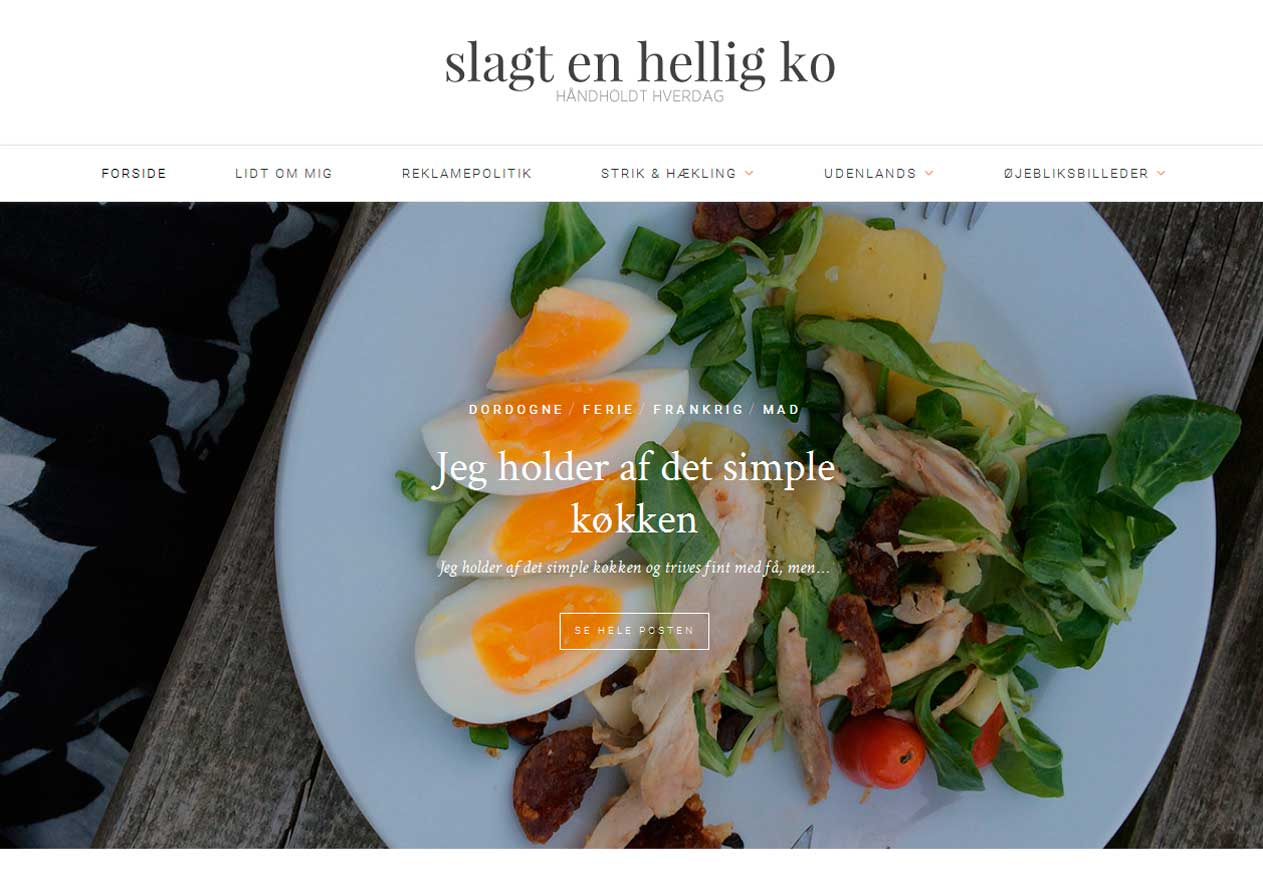 Slagt en hellig kos hjemmeside er bygget med WordPress