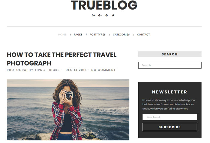 TrueBlog er et minimalistisk WordPress-tema til blogs