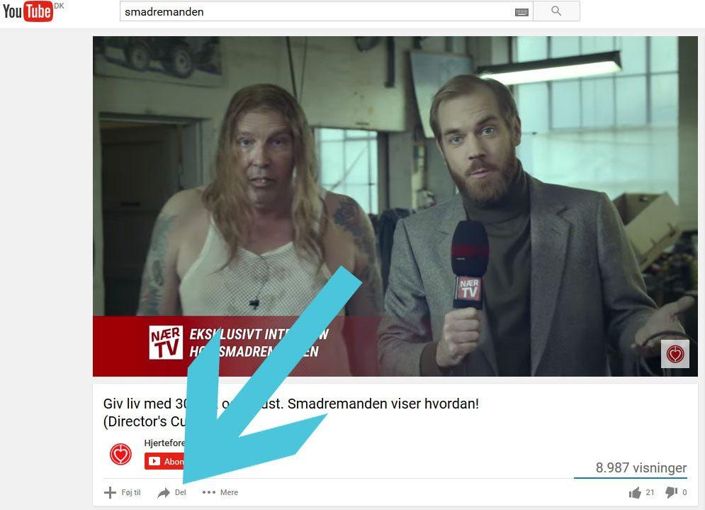 """Klik på """"del"""" under videoen"""